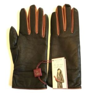 NWT Dents Heritage Leather Cashmere Gloves Brown